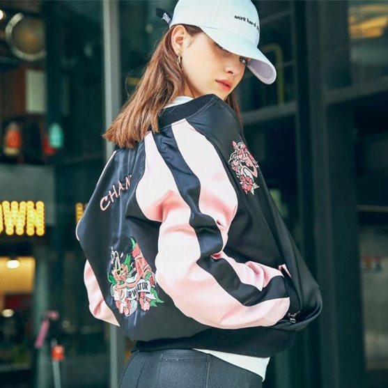 Lady-Biker-Bomber-Jacket-2016-Autumn-Embroidery-font-b-Pink-b-font-Baseball-Jacket-font-b
